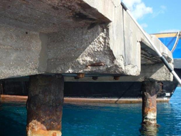 Aangetaste betonconstructie
